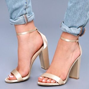 Lulus Taylor Champagne Satin Ankle Strap Heels